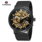 Мужские часы Forsining Elegant Black Skeleton