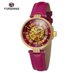 Женские часы Forsining Diamond Red Skeleton